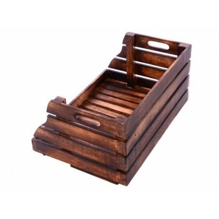Dekorativní stohovatelná dřevěná bedýnka otevřená, vintage vzhled- hnědá, 49x34x26cm