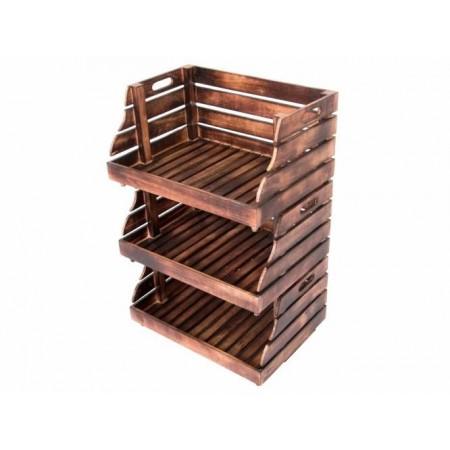 3 ks dekorativní stohovatelná dřevěná bedýnka otevřená, vintage vzhled- hnědá, 49x34x26cm