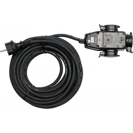 Odolný prodlužovací kabel s gumovou izolací, 3 zásuvky, IP 44, 20 m