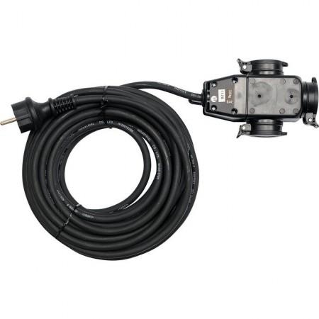 Odolný elektrický prodlužovací kabel IP 44, gumová izolace, 3 zásuvky, 10 m
