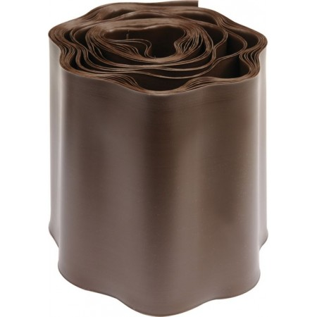 Plastový obrubník k trávníku jednoduchý vlnitý, hnědý, výška 15 cm, 9 m