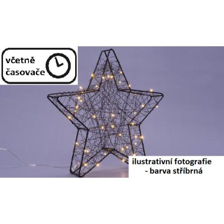 Kovová vánoční hvězda na parapet stříbrná, vnitřní, 25 svítících LED, 30cm