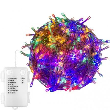 Svítící LED řetěz s průhledným kabelem na baterie, venkovní / vnitřní, 8 funkcí, barevný, 50 LED, 5 m