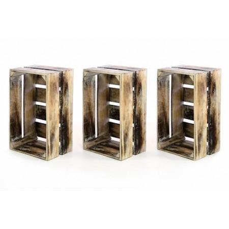 3ks dekorativní dřevěná bedýnka vintage, hnědá, 44,5x28x19,5cm