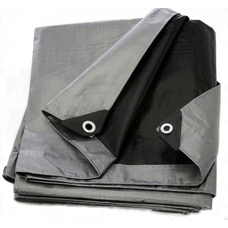 Silná krycí plachta na zahradu / do dílny, voděodolná, stříbrná / černá, 260g/m2, 8x10m