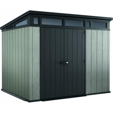 Plastový zahradní domek včetně podlahy, uzamykatelné dveře, šedá + antracit, 277x218x226cm