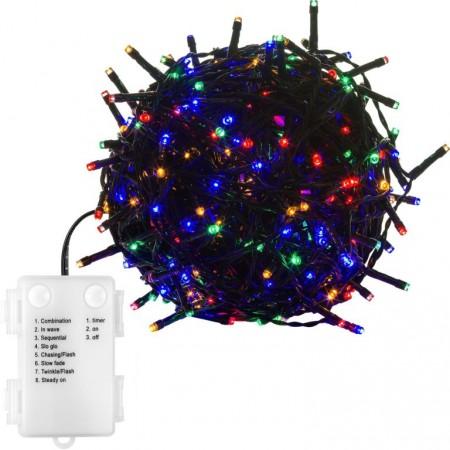 Vánoční venkovní / vnitřní svítící řetěz na baterie barevný, 8 efektů, časovač, 10 m