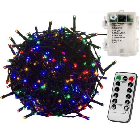 Světelný LED řetěz na baterie venkovní / vnnitřní, DO, barevný, 8 funkcí, časovače, 20 m