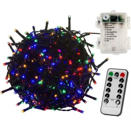 LED světelný řetěz na baterie s DO a časovačem, venkovní / vnitřní, barevný, 10 m