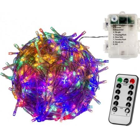 Kratší vánoční řetěz na baterie svítící / blikající, barevný, venkovní + vnitřní, DO, 5 m