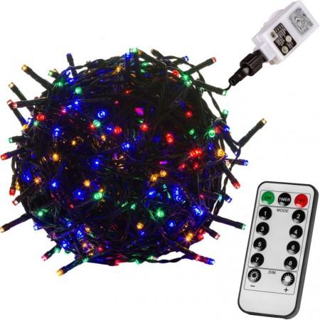 Světelný řetěz do zásuvky s dálkovým ovladačem, barevný, venkovní + vnitřní, 8 efektů, 60 m
