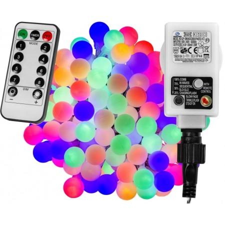 Párty svítící řetěz s dálkovým ovládáním, barevný, 8 efektů, 200 LED, 20 m