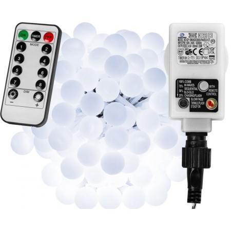 Párty svítící řetěz s dálkovým ovládáním, studeně bílý, 8 efektů, 200 LED, 20 m