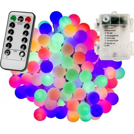 Vánoční / párty LED osvětlení na baterie venkovní + vnitřní, s efekty, barevné kuličky, DO, 10 m