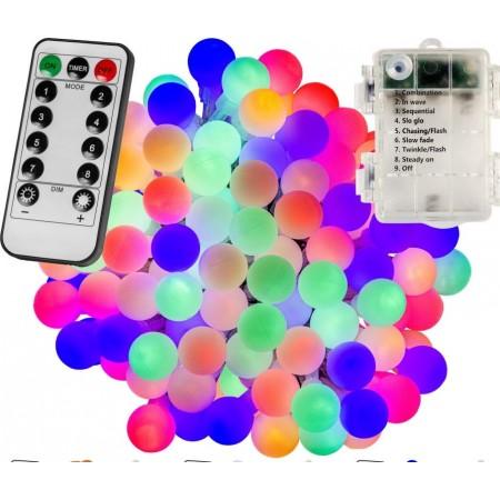 Barevný světelný řetěz na párty / vánoce venkovní + vnitřní, na baterie, DO, efekty, 5 m