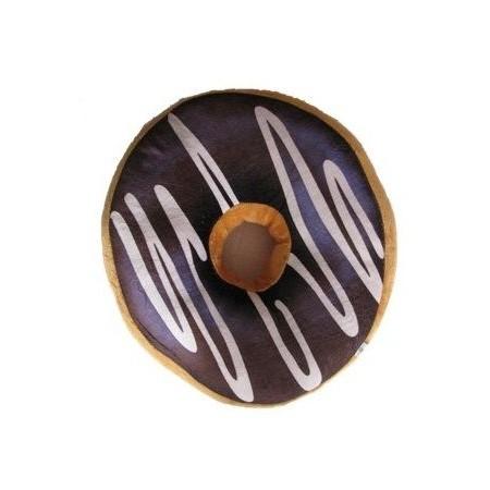 Kulatý polštář ve tvaru donutu 3D, tmavě hnědý, mikroplyš, průměr 40 cm