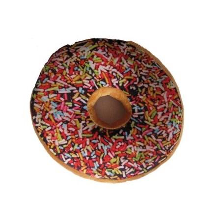 Kulatý polštář ve tvaru donutu 3D, barevný, mikroplyš, průměr 40 cm