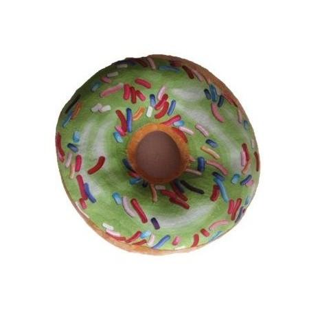Kulatý polštář ve tvaru donutu 3D, zelený, mikroplyš, průměr 40 cm