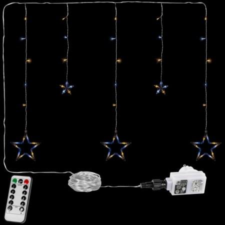 Vánoční osvětlení do okna- řetěz s hvězdami tep. / st. bílý, 8 funkcí, DO, 80 cm