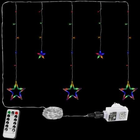 Vánoční osvětlení do okna- řetěz s hvězdami barevný, 8 funkcí, DO, 80 cm