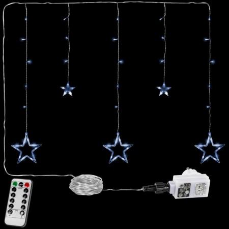 Vánoční osvětlení do okna- řetěz s hvězdami st. bílý, 8 funkcí, DO, 80 cm