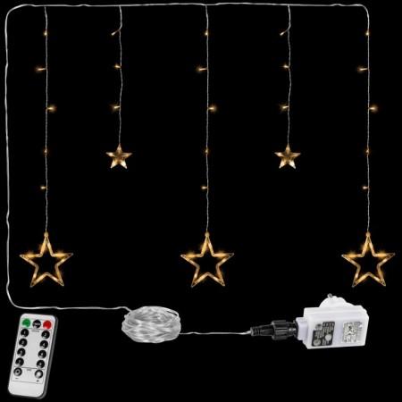 Vánoční osvětlení do okna- řetěz s hvězdami tep. bílý, 8 funkcí, DO, 80 cm