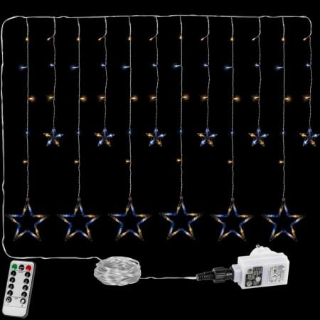 Vánoční osvětlení do okna- řetěz s hvězdami tep. / st. bílý, 8 funkcí, DO, 2 m