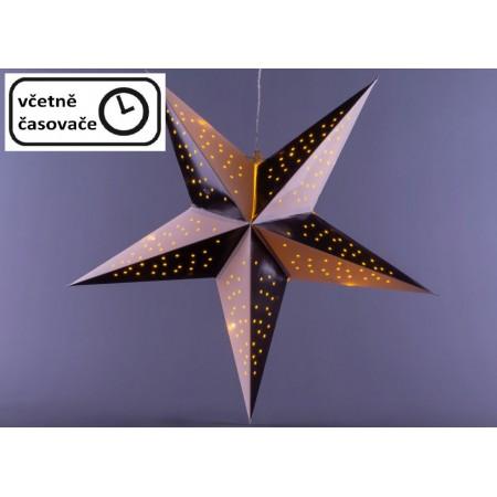 Vánoční svítící hvězda k zavěšení, s časovačem, na baterie, vnitřní, černá / bílá, 40 cm
