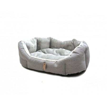 Polstrovaný pelíšek pro psa se zvýšenými okraji, šedý, 90x70 cm