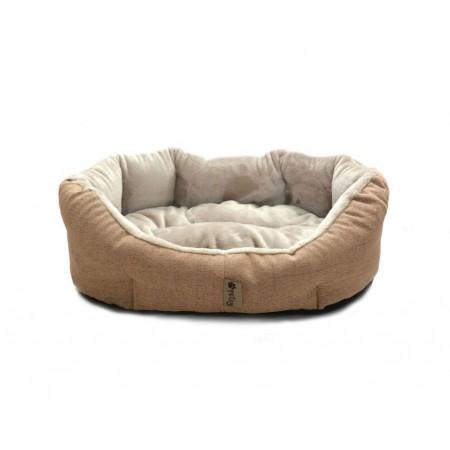Polstrovaný pelíšek pro psa se zvýšenými okraji, hnědá / béžová, 90x70 cm