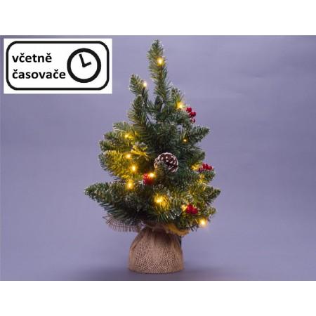 Malý umělý vánoční stromek na stůl osvětlený, na baterie, 45 cm