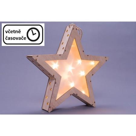 Dřevěná vánoční hvězda k postavení / zavěšení, na baterie, dřevěná, vnitřní, 35 cm