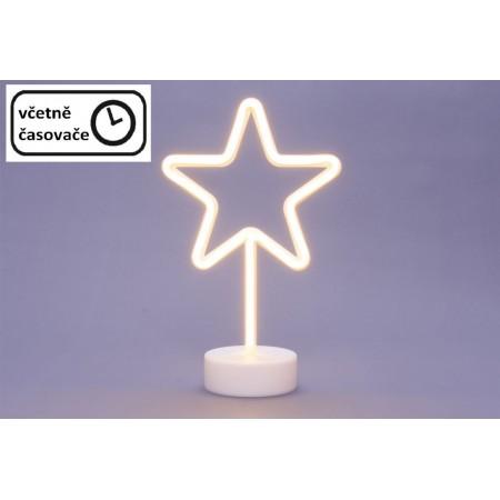 Vánoční svítící hvězda s časovačem do interiéru, neonový vzhled, na baterie, 18,5cm