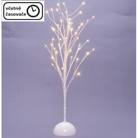Ozdobný umělý strom do interiéru osvětlený, bílý, na baterie, časovač, 48 LED, 60 cm
