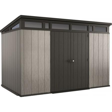 Velký plastový zahradní domek / garáž v imitaci dřeva, šedá + antracit, 342x218x226cm