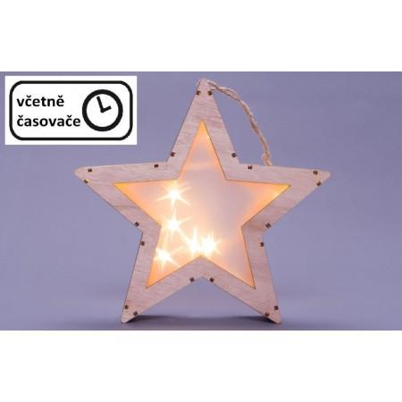 Svítící vánoční dřevěná hvězda s 3D efektem, interiérová dekorace, na baterie, časovač, 25 cm
