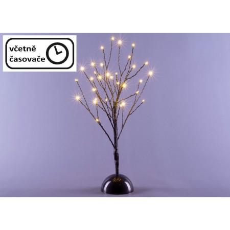 Dekorativní svítící umělý strom na baterie, do interiéru, časovač, 32 LED, 40 cm