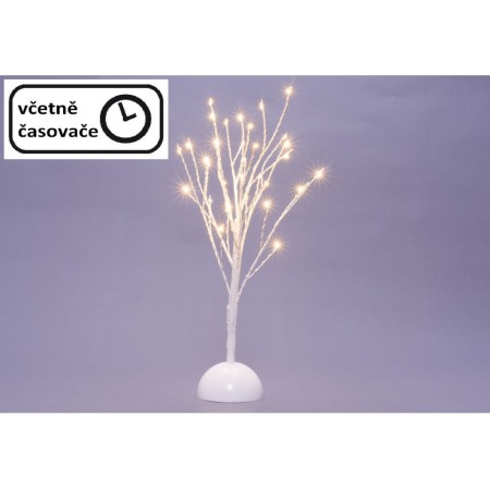 Vánoční osvětlení- umělý strom do interiéru bílý, na baterie, časovač, 32 LED, 40 cm