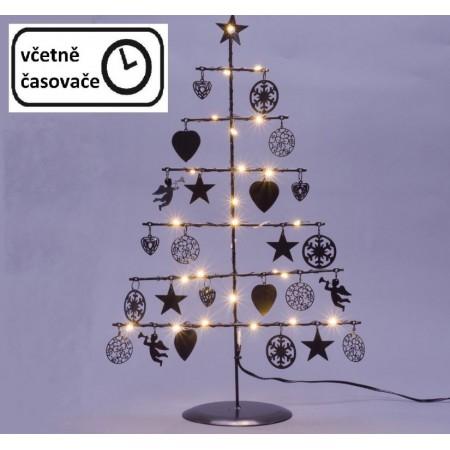 Kovový vánoční dekorativní stromek osvětlený na baterie, vnitřní, 25 LED, 42 cm, černý