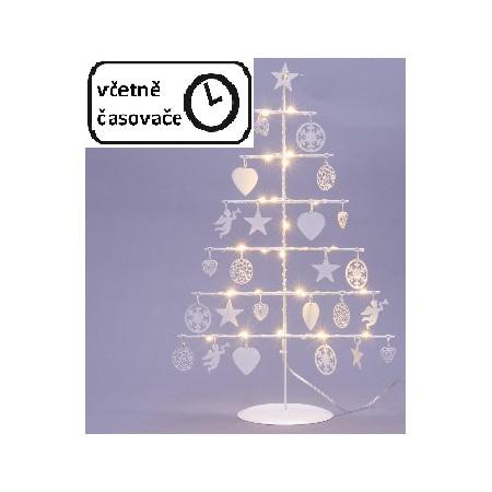 Kovový vánoční dekorativní stromek osvětlený na baterie, vnitřní, 25 LED, 42 cm, bílý