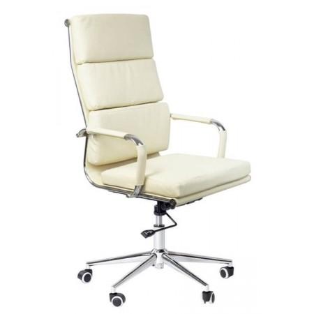 Elegantní kancelářská židle chrom / eko kůže, béžová, vysoká nosnost 130 kg