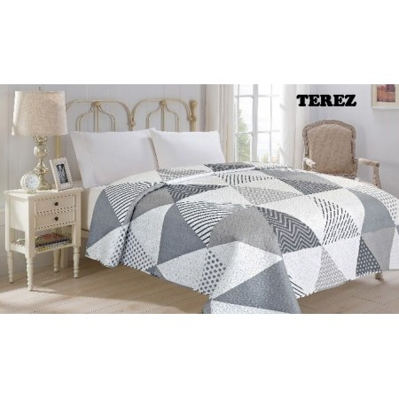 Přehoz na postel dvojlůžko šedá / bílá terez- trojůhelníky, 220x240cm