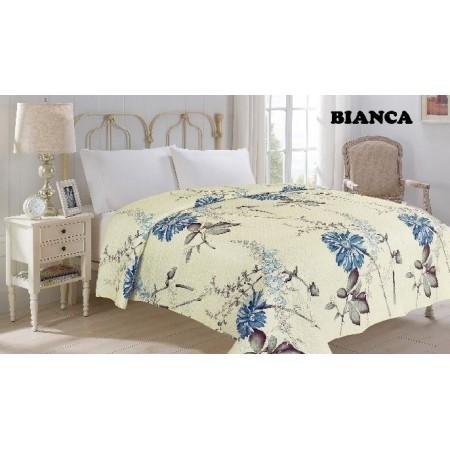 Přehoz na postel dvojlůžko bianca- květiny, 220x240cm