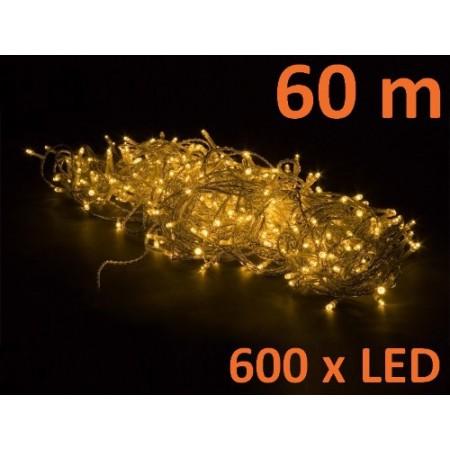 Vánoční řetěz venkovní / vnitřní, 600 LED, teple bílá, 60 m