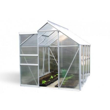 Polykarbonátový skleník, posuvné fveře, hliníková konstrukce 250 x 190 x 195 cm