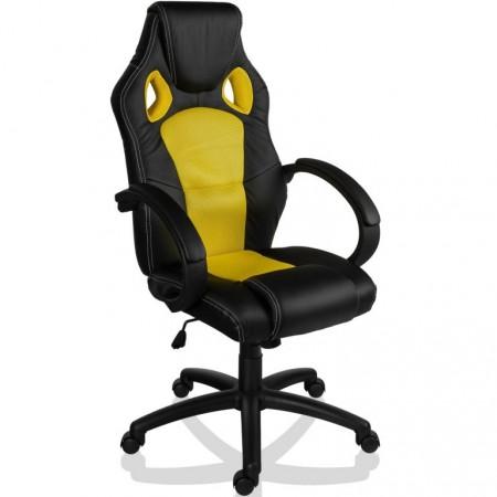 Otočná židle k PC se závodním vzhledem GS Series, černá / žlutá