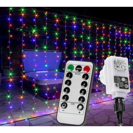 Vánoční světelný závěs venkovní / vnitřní barevný, světelné efekty, 600 LED, 6x3 m