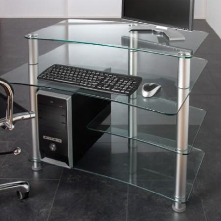 Designový kancelářský stůl pod PC, skleněná deska
