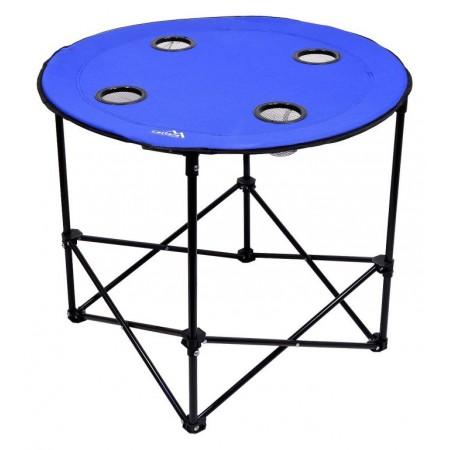Skládací kempinkový stolek kov / textilie, 4x držák na nápoje, modrý, průměr 62 cm