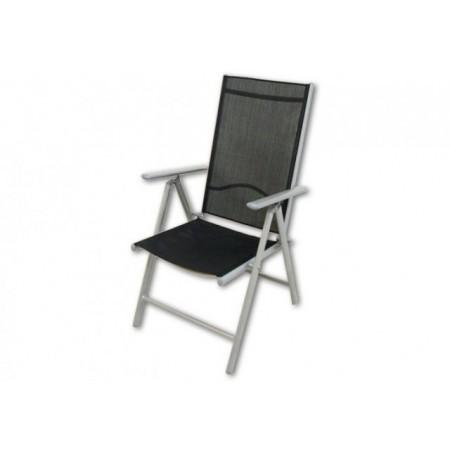 2 ks zahradních skládacích židlí, hliníkový rám, textilní výplň